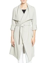 SOIA & KYO | White Roll Sleeve Drape Front Long Trench Coat | Lyst