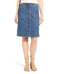 Two By Vince Camuto | Blue Button Front A-line Denim Skirt | Lyst