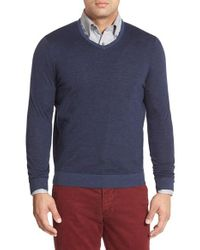 John W. Nordstrom | Blue John W. Nordstrom Regular Fit Stripe V-neck Sweater for Men | Lyst