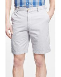 Peter Millar   Gray 'winston' Washed Twill Flat Front Shorts for Men   Lyst