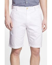 Peter Millar | White 'winston' Washed Twill Flat Front Shorts for Men | Lyst