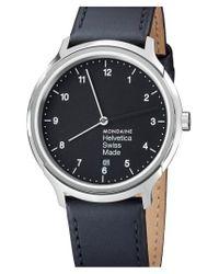 Mondaine   Black 'helvetica No.1 Regular' Round Leather Strap Watch   Lyst