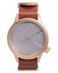 Komono - Pink 'magnus The One' Round Leather Strap Watch for Men - Lyst