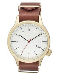 Komono - Brown 'magnus' Round Leather Strap Watch for Men - Lyst