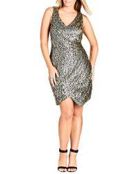 City Chic - Multicolor Dazzle Me V-neck Sequin Dress - Lyst
