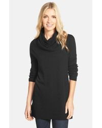 Caslon | Black Caslon Side Slit Cowl Neck Tunic | Lyst