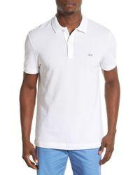 Lacoste | 'white Croc' Slim Fit Pique Polo for Men | Lyst
