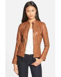 Lamarque - Brown Stitch Detail Lambskin Leather Jacket - Lyst