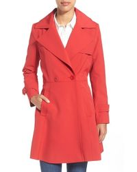 Trina Turk | Red 'phoebe' Double Breasted Trench Coat | Lyst