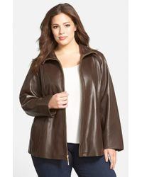 Ellen Tracy - Brown Leather A-Line Coat - Lyst