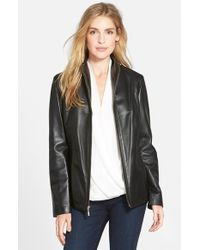 Cole Haan - Black Wing Collar Lambskin Leather Jacket - Lyst