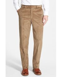 Berle   Brown Flat Front Corduroy Trousers for Men   Lyst