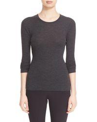 Theory | Gray 'mirzi' Rib Knit Merino Wool Sweater | Lyst