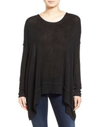 Free People | Black 'shadow' Oversize Hacci Open Back Top | Lyst