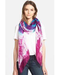 La Fiorentina | Purple Tie Dye Silk Scarf | Lyst