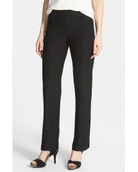 Eileen Fisher | Black Straight Leg Crepe Pants | Lyst
