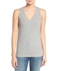 James Perse | Gray Skinny Brushed Jersey Racerback Tank | Lyst