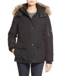 Pendleton | Black 'expedition' Genuine Coyote Fur Trim Down Parka | Lyst