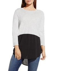 Two By Vince Camuto | Gray Mixed Media Jewel Neck Tunic | Lyst