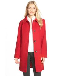 Fleurette | Red Wool Spread Collar Coat | Lyst