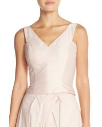 Monique Lhuillier Bridesmaids | Pink Taffeta V-neck Top | Lyst