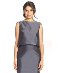 Monique Lhuillier Bridesmaids | Gray Taffeta Bateau Neck Top | Lyst