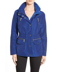 MICHAEL Michael Kors | Blue Hooded Drawstring Anorak  | Lyst