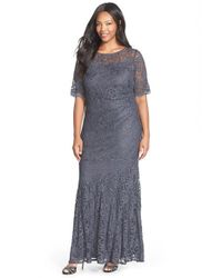 Xscape - Gray Short Sleeve Shimmer Lace Gown - Lyst