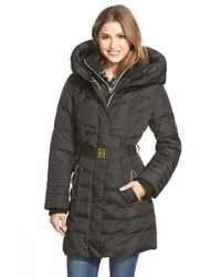 Kensie | Black Belted Hooded Down & Feather Fill Coat | Lyst
