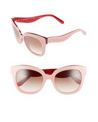 Kate Spade | 'amberly' 54mm Cat Eye Sunglasses - Milky Pink/ Red | Lyst