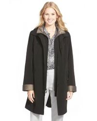 Gallery Black Two Tone Long Silk Look Raincoat
