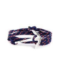 Miansai | Blue Silver Anchor Rope Wrap Bracelet | Lyst