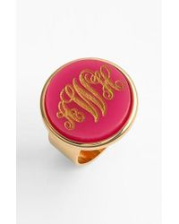Moon & Lola - Pink 'vineyard' Personalized Monogram Ring - Lyst