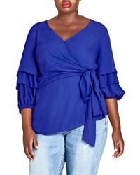 City Chic - Blue Desire Faux Wrap Shirt - Lyst