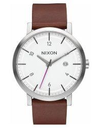Nixon - Brown 'rollo' Leather Strap Watch for Men - Lyst