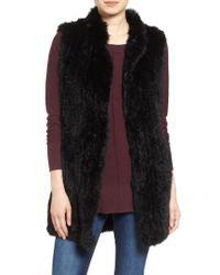 Love Token | Black Long Genuine Rabbit Fur Vest | Lyst