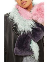 TOPSHOP | Multicolor Zeus Faux Fur Patchwork Scarf | Lyst