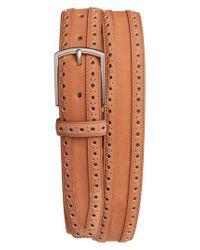 Cole Haan   Brown Brogue Nubuck Leather Belt for Men   Lyst