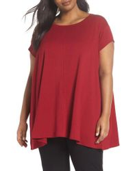 Eileen Fisher - Red Scoop Neck Tunic - Lyst