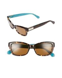 Kate Spade - Brown Marilee 53mm Polarized Sunglasses - Havana/ Turquoise - Lyst