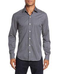 Culturata   Blue Trim Fit Diamond Print Sport Shirt for Men   Lyst