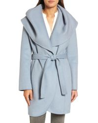 Tahari | Blue Marla Double Face Wool Blend Wrap Coat | Lyst