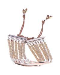 Nakamol - Brown Bar Charm & Beaded Bracelet - Lyst