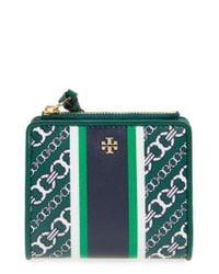 Tory Burch | Green Mini Gemini Link Coated Canvas Wallet | Lyst