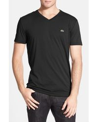 Lacoste | Black Pima Cotton Jersey V-neck T-shirt for Men | Lyst