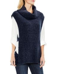 Two By Vince Camuto | Blue Sleeveless Ribbed Turtleneck | Lyst