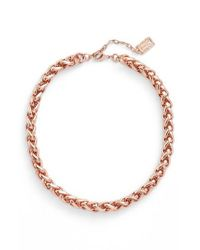 Karine Sultan - Metallic Braided Link Collar Necklace - Lyst