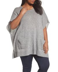 Sejour - Gray Ribbed Pocket Poncho - Lyst