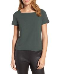 Eileen Fisher | Blue Square Neck Jersey Top | Lyst