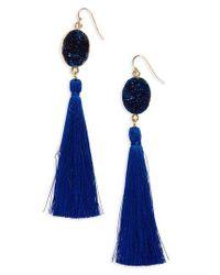 Panacea - Blue Drusy Tassel Earrings - Lyst